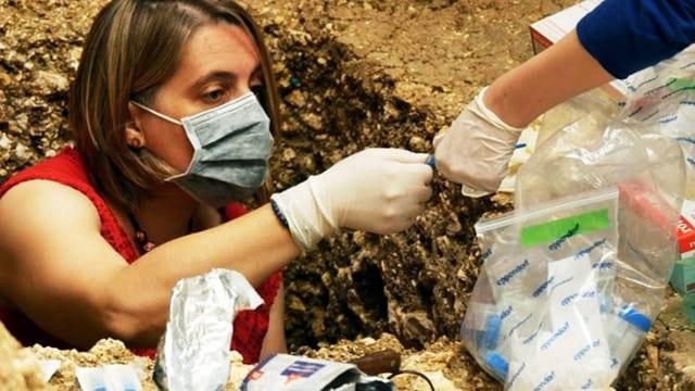 Frau mit Mundschutz in Erdloch übergibt Sedimentsprobe an Kollegin.