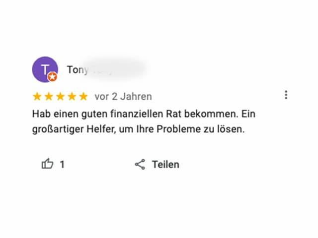 Review: Hab einen guten finanziellen Rat bekommen. Ein grossartiger Helfer, um ihre Probleme zu lösen.