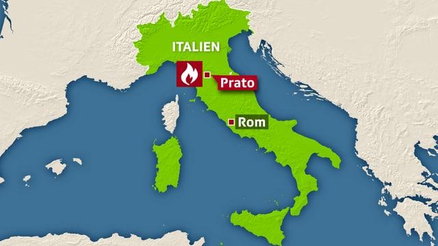 Karte von Italien mit Prato.