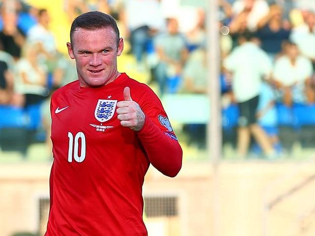 Wayne Rooney nachdem er seinen 49. Länderspieltreffer erzielt hatte.
