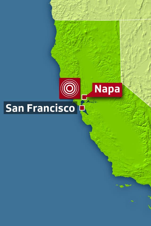 Karte von Kalifornien zeigt San Francisco und Napa