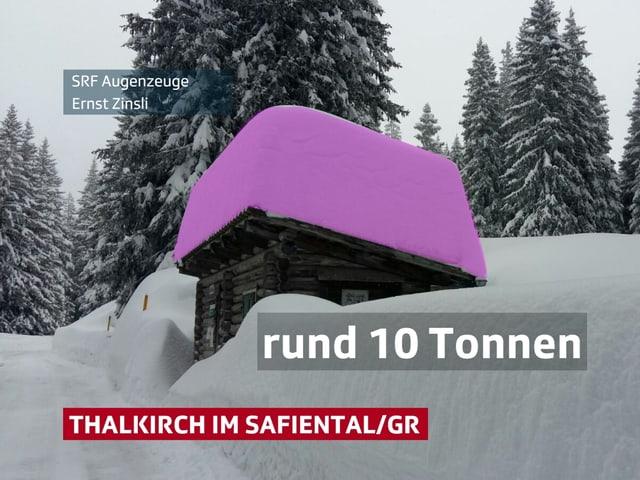 Holzhaus mit viel Neuschnee. Der Schnee auf dem Dach ist rosa eingefärbt.