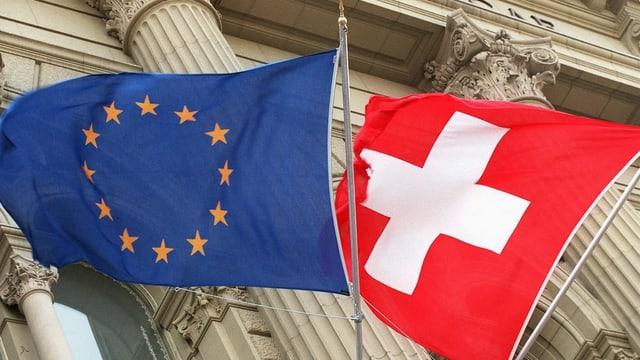 Europa- und Schweizerflagge.
