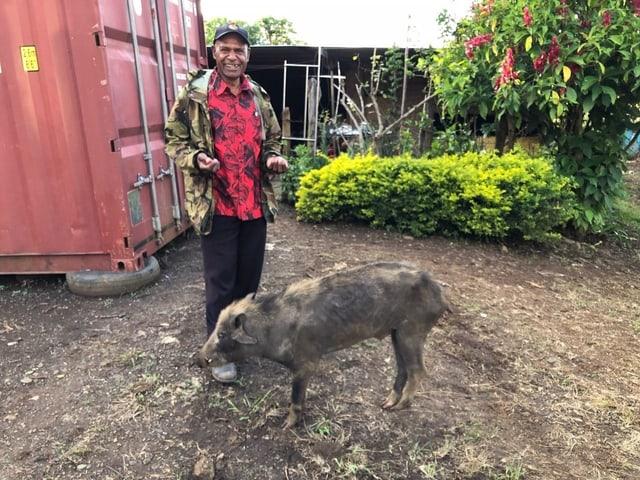 Tom Gerry mit seinem Schwein