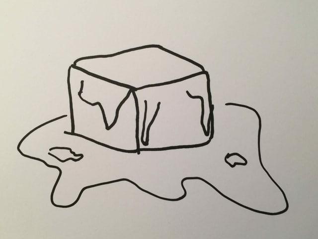 Eine Zeichnung mit einem Eisblock, der am Schmelzen ist.