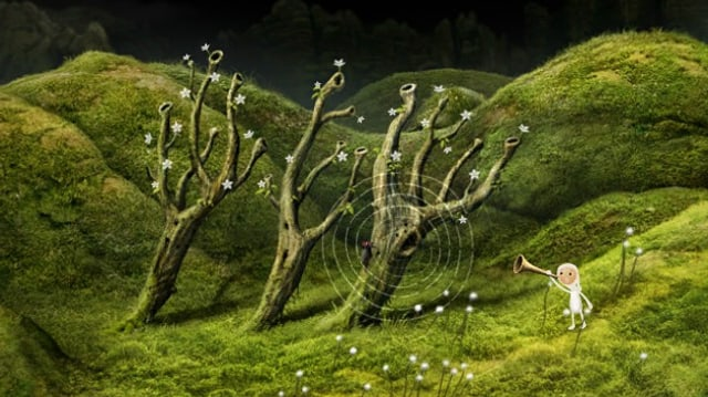 Die Wichtelfrau Elfride hält eine Tröte an ihr Ohr und hört den Bäumen zu.