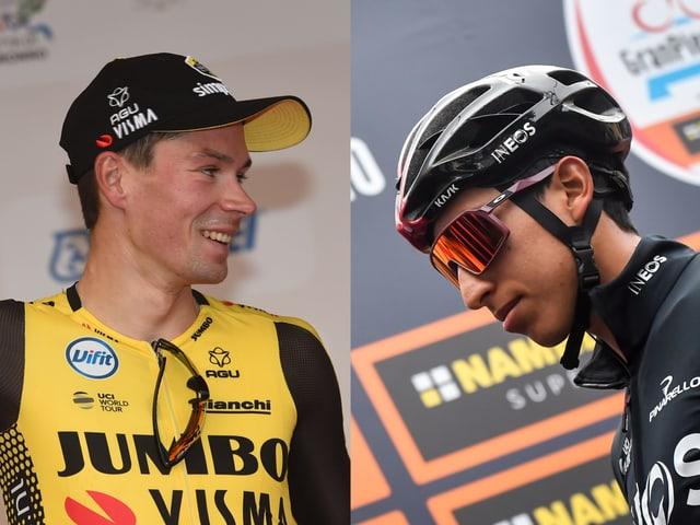 Primoz Roglic (l.) und Egan Bernal.