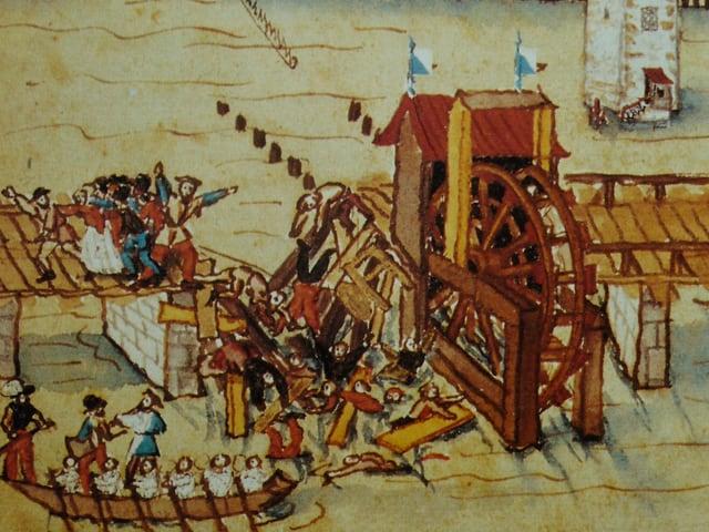 Ein Bild aus dem Mittelalter: Die Gemüsebrücke stürzt ein.