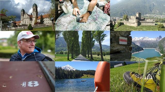 Neun Bilder von schönen Landschaften.
