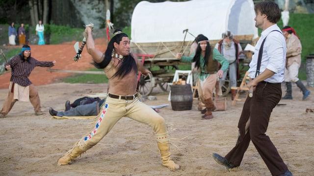 Kampfszene zwischen Winnetou und Old Shatterhand.