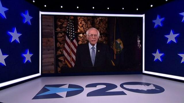Der Parteitag der Demokraten findet virtuell statt. Hier Bernie Sanders bei seiner Rede.