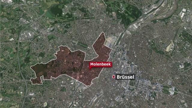 Sattelliten-Ansicht von Brüssel, rot eingezeichnet das Quartier Molenbeek.
