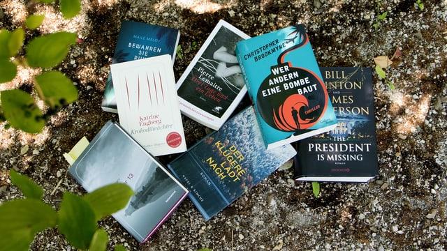 Bücherstapel im Garten