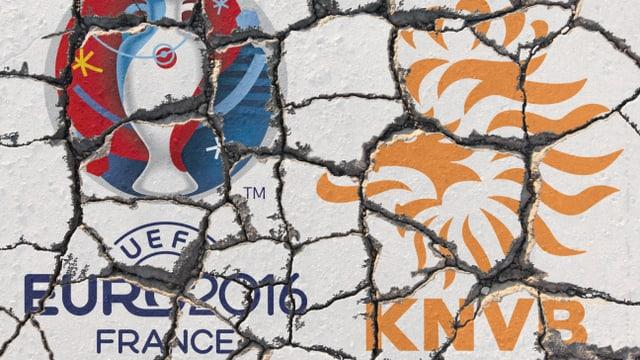Hollands Flagge zerbröselt auf einer Mauer