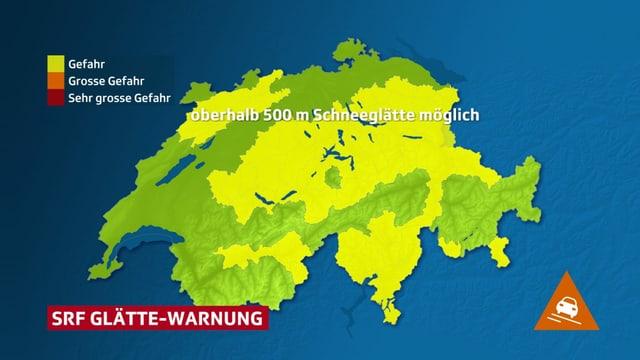 Schweizer Warnkarte mit gelben Flächen wo es Schneeglätte gibt.