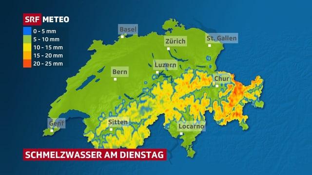 Schweizer Karte, die Menge an Schmelzwasser zeigt.