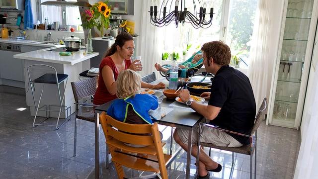 Familie an Esstisch sitzend