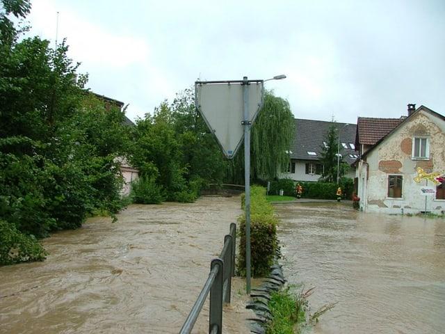 Das Wasser tritt über die Ufer und überschwemmt die Strasse breitflächig, so dass der Boden nicht mehr zu sehen ist.