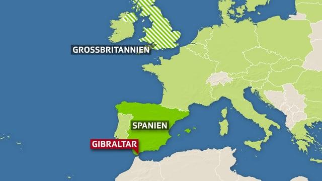Karte EU mit Fähnchen bei Gibraltar
