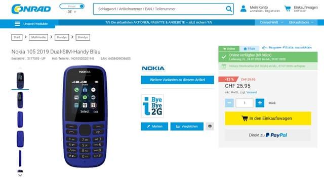 Screenshot Conrad-Webshop mit Nokia105-Handy
