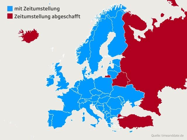 Eingefärbte Europa-Karte
