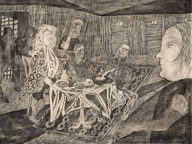 Dunkle Zeichnung von drei Männern. Einer trägt eine Perücke. Vor ihnen steht ein Tisch mit Tellern drauf.