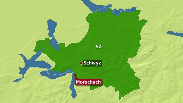 Karte des Kantons Schwyz, Morschach am Vierwaldstättersee ist herausgehoben.