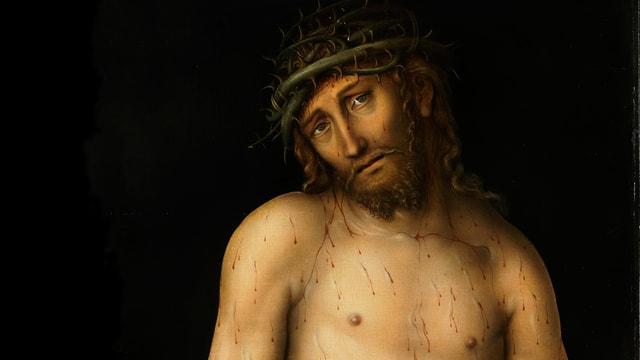Ölgemälde von Jesus mit Dornenkrone: Er schaut den Betrachter an.