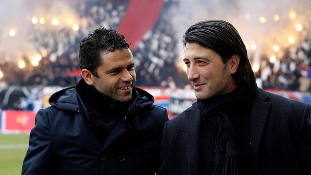 GC-Trainer Forte (l.) mit Basel-Coach Yakin.