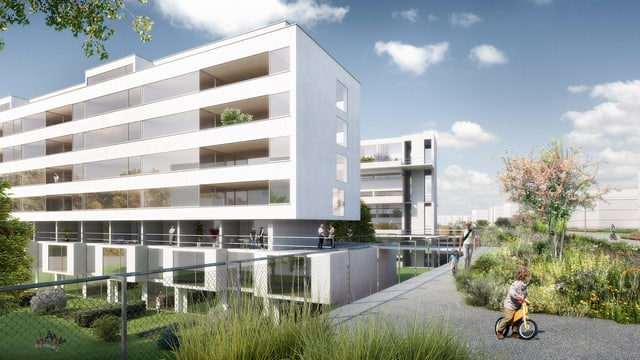 Visualisierung des Übergangs von Wohnblock zur Park auf dem künftigen Autobahndeckel Schwamendingen