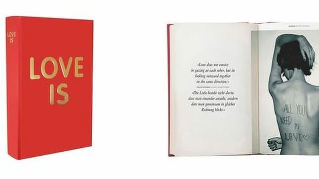 Rotes Buch aus verschiedenen Winkeln mit goldener Überschrift