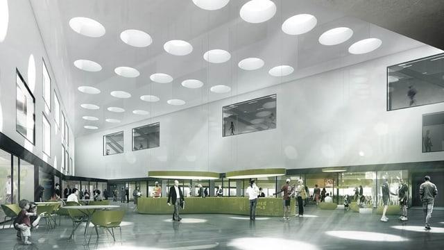 Innenraum eines Sportzentrums, in das Lichtkegel fallen.