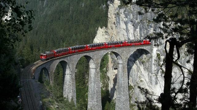 Roter Rhb-Zug fährt über Landwasserviadukt