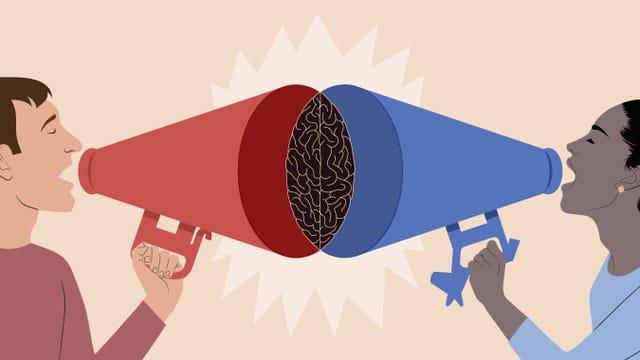 Ein Mann und eine Frau, die sich gegenseitig durch Megaphone anschreien.