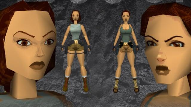 Lara Croft im Jahr 1996 (links) und mit deutlich sexualisierterer Erscheinung im Jahr 2000.
