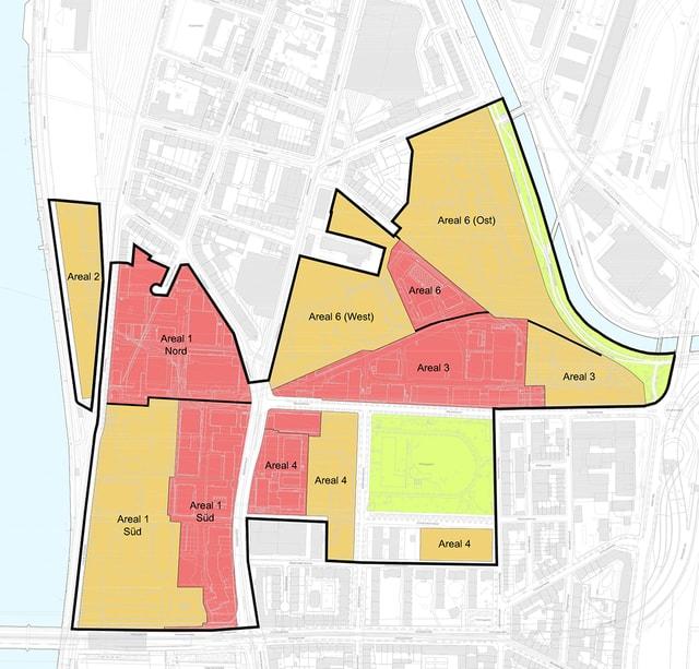 Das Klybeckareal: Orange eingefärbt der Novartis-Anteil, der jetzt verkauft wurde. Rot, der Anteil von BASF.