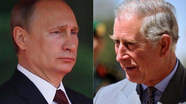 Putin und Prinz Charles. Zwei Porträtaufnahmen.