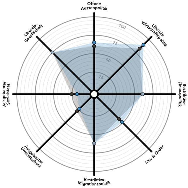 Das politische Profil der FDP in einem Spinnendiagramm.