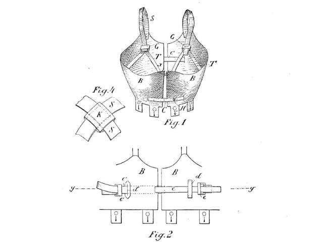 Eine Skizze des ersten Büstehalters. Sieht unbequem aus.