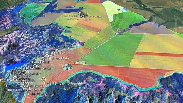Felder aus der Vogelperspektive, grün, gelb und rot eingefärbt.
