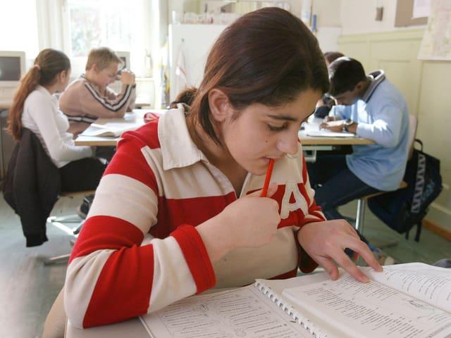 Ein Mädchen lernt Deutsch.