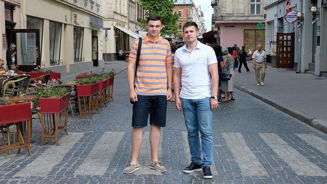 Roman Fedinjak und Rostislav Tistik auf der Strasse