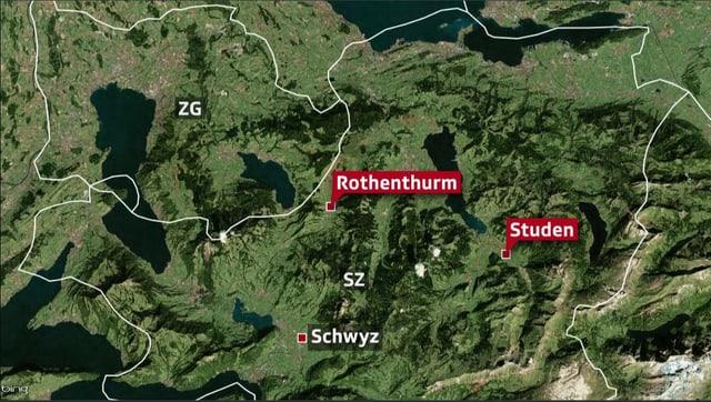 Karte mit den Langlaufgebieten Studen und Rothenthurm