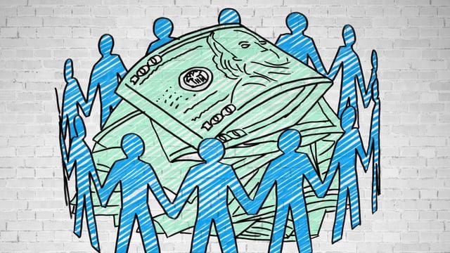 Illustration von Menschen, die händehebend einen Kreis bilden, in dessen Mitte ein Haufen Banknoten liegen.
