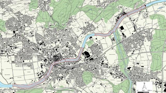 Karte zeigt Naturschutzgebiet an der Aare.