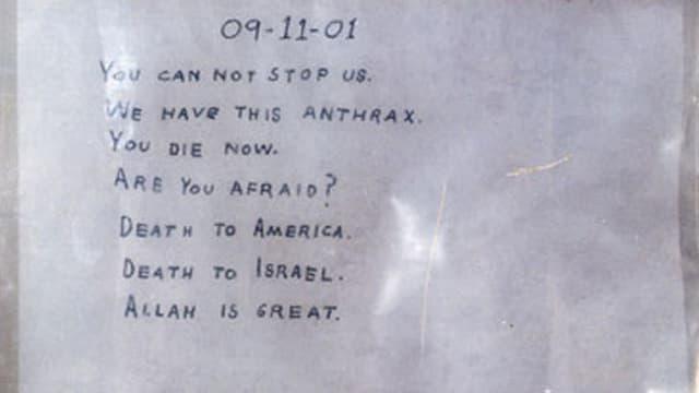Brief mit Hanschrift: «Du kannst uns nicht stoppen»