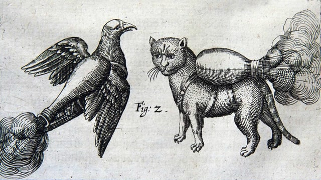 Zeitgenössischer Holzschnitt einer Taube und einer Katze mit aufgeschnallten Brandbomben