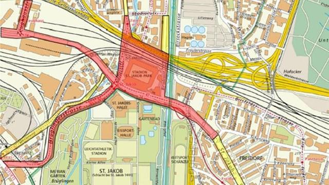 Basler Stadtplan im Gebiet des Stadion, rot eingefärbte Strassen