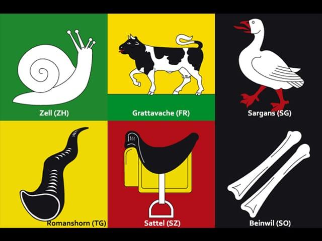 Sechs Gemeindewappen.
