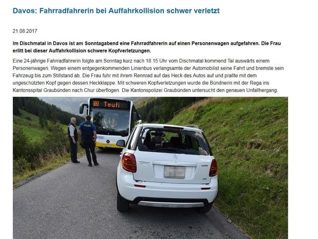 L'annunzia da polizia da l'accident